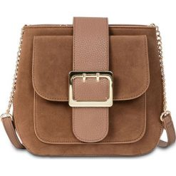 Torebka na ramię z dużą sprzączką bonprix brązowy. Brązowe torebki klasyczne damskie bonprix, duże. Za 99,99 zł.
