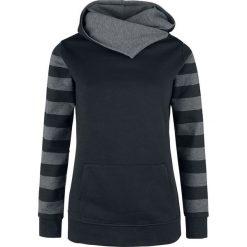 Bluzy rozpinane damskie: Nastrovje Postdam Shawl Collar Stripes Hoodie Bluza z kapturem damska czarny/odcienie szarego