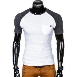 T-SHIRT MĘSKI BEZ NADRUKU S1015 - BIAŁY/GRAFITOWY. Białe t-shirty męskie z nadrukiem marki Ombre Clothing, m. Za 35,00 zł.