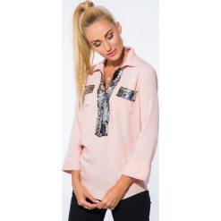 Koszule wiązane damskie: Łososiowa Koszula z Cekinami 1039