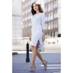 Sukienka K464 szary. Szare sukienki dzianinowe Pakamera, mini, dopasowane. Za 179,00 zł.