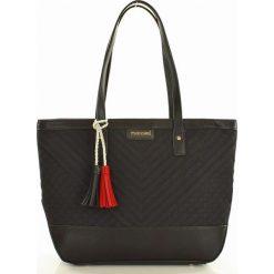 MONNARI Stylowa torba shopper bag czarny. Czarne shopper bag damskie Monnari, w geometryczne wzory, ze skóry, na ramię, pikowane. Za 169,00 zł.