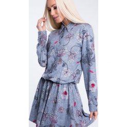 Sukienki: Sukienka we wzory zapinana na guziki niebieska 1556
