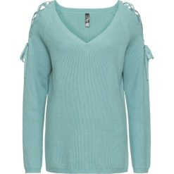 Swetry klasyczne damskie: Sweter z wycięciami bonprix niebieski mineralny