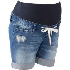 """Szorty dżinsowe ciążowe z wiązanym troczkiem bonprix niebieski """"stone"""". Niebieskie spodnie ciążowe marki bonprix, w paski, z dżerseju. Za 109,99 zł."""