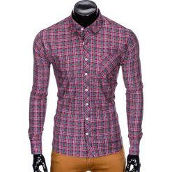 KOSZULA MĘSKA W KRATĘ Z DŁUGIM RĘKAWEM K421 - CZERWONA. Brązowe koszule męskie na spinki marki Ombre Clothing, m, z aplikacjami, z kontrastowym kołnierzykiem, z długim rękawem. Za 69,00 zł.