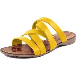 Chodaki damskie: Skórzane klapki w kolorze żółtym