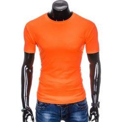 T-shirty męskie z nadrukiem: T-SHIRT MĘSKI BEZ NADRUKU S883 – POMARAŃCZOWY