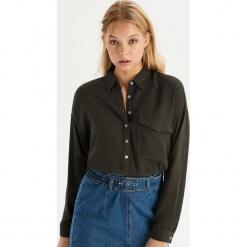 Koszula z kieszenią - Khaki. Brązowe koszule wiązane damskie Sinsay, l. Za 59,99 zł.