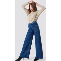 Spodnie damskie: Trendyol Szerokie spodnie z wysokim stanem - Blue