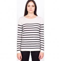 Sweter kaszmirowy w kolorze białym. Białe swetry klasyczne damskie marki Ateliers de la Maille, z kaszmiru. W wyprzedaży za 500,95 zł.