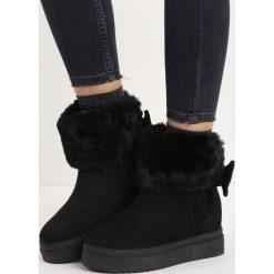 Czarne Śniegowce Favoured. Czarne buty zimowe damskie Born2be, z materiału. Za 54,99 zł.