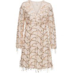 Sukienka na party, z cekinami bonprix beżowo-złoty. Brązowe sukienki koronkowe marki bonprix, na imprezę, w koronkowe wzory, z dekoltem w serek. Za 189,99 zł.