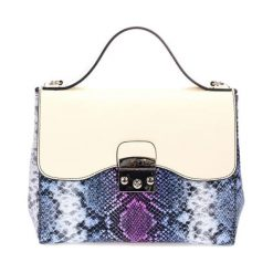 Torebki klasyczne damskie: Skórzana torebka w kolorze beżowo-niebieskim – (S)28 x (W)29 x (G)15 cm