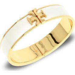 Bransoletka TORY BURCH - Enameled Raised-Logo Hinged Bracelet 41872 New Ivory/Tory Gold 119. Białe bransoletki damskie na nogę Tory Burch, metalowe. Za 639,00 zł.
