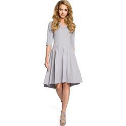 Sukienki: Sukienka z marszczonym rozkloszowanym dołem – szara