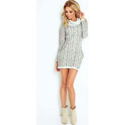 Sukienki: Szara Sukienka Dzianinowa Mini z Golfem