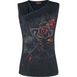 Spiral Burnt Rose Top damski czarny. Czarne topy damskie marki Spiral, l, z nadrukiem, z asymetrycznym kołnierzem. Za 99,90 zł.