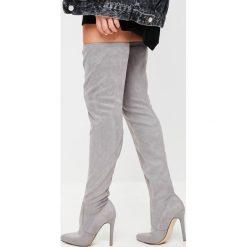 Missguided - Kozaki Chunky Sole. Szare buty zimowe damskie marki Missguided, z materiału, na obcasie. W wyprzedaży za 99,90 zł.