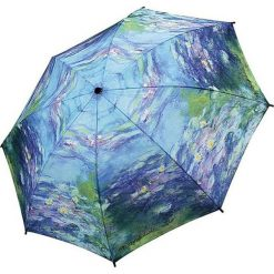 "Parasole: Parasol ""Monet – Water Lilies"" w kolorze niebieskim ze wzorem"