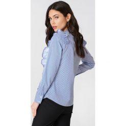 Rut&Circle Koszula w paski Malina - Blue,Multicolor. Koszule w niebieskie paski Rut&Circle, klasyczne, z falbankami, z długim rękawem. Za 145,95 zł.