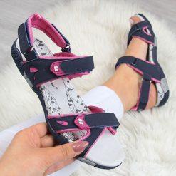 Sandały damskie: Sandały damskie sportowe na rzepy granatowe Hasby