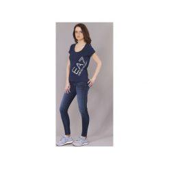 T-shirty z krótkim rękawem Emporio Armani EA7  TRAIN LOGO SERIES STRASS. Niebieskie t-shirty damskie marki Emporio Armani EA7, l. Za 295,20 zł.