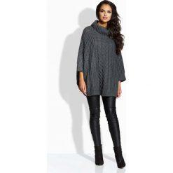 Swetry oversize damskie: Grafitowy Sweter A'la Ponczo z Golfem