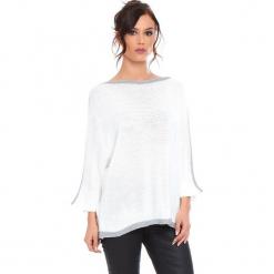 """Sweter """"Cecile"""" w kolorze białym. Białe swetry klasyczne damskie marki Cosy Winter, s, ze splotem, z okrągłym kołnierzem. W wyprzedaży za 159,95 zł."""