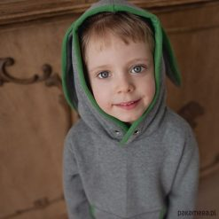 Bluzy chłopięce rozpinane: Bluza Królik z uszami z zielonym