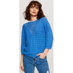 Sweter z bawełny - Niebieski. Białe swetry klasyczne damskie marki Reserved, l. W wyprzedaży za 59,99 zł.