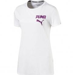 Koszulka w kolorze białym. Białe t-shirty damskie Puma, xs, z nadrukiem, z okrągłym kołnierzem. W wyprzedaży za 68,95 zł.