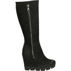 Kozaki ocieplane - 2268 NAB NER7. Czarne buty zimowe damskie marki Kazar, z futra, przed kolano, na wysokim obcasie, na koturnie. Za 239,00 zł.