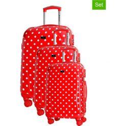 Walizki: Zestaw walizek w kolorze czerwonym ze wzorem – 3 szt.