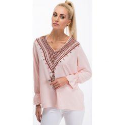 Pudrowo różowa koszulowa bluzka 8533. Czerwone bluzki koszulowe Fasardi, l. Za 44,00 zł.