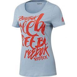 Reebok Koszulka damska Super Scripty Scoop Neck szaro-czerwona r. L (BK2110). Szare topy sportowe damskie marki Reebok, l, z dzianiny, z okrągłym kołnierzem. Za 79,38 zł.