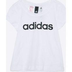 Adidas Performance - Top dziecięcy 110-170 cm. Szare bluzki dziewczęce adidas Performance, z nadrukiem, z bawełny, z okrągłym kołnierzem. W wyprzedaży za 49,90 zł.