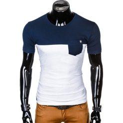 T-SHIRT MĘSKI Z NADRUKIEM S1014 - GRANATOWY/BIAŁY. Białe t-shirty męskie z nadrukiem marki Ombre Clothing, m. Za 35,00 zł.