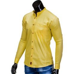 KOSZULA MĘSKA Z DŁUGIM RĘKAWEM K353 - ŻÓŁTA. Brązowe koszule męskie na spinki marki Ombre Clothing, m, z aplikacjami, z kontrastowym kołnierzykiem, z długim rękawem. Za 59,00 zł.