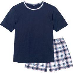 Piżama bonprix ciemnoniebieski w kratę. Białe piżamy męskie marki B'TWIN, m, z elastanu, z krótkim rękawem. Za 44,99 zł.