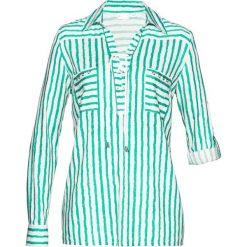 Bluzki damskie: Bluzka bonprix biało-miętowy z nadrukiem