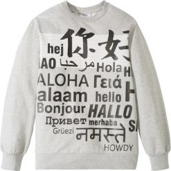 Bluza dresowa bonprix szary melanż z nadrukiem. Białe bluzy chłopięce rozpinane marki FOUGANZA, z bawełny. Za 37,99 zł.