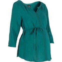 Bluzki, topy, tuniki: Tunika ciążowa z ażurowym haftem bonprix niebieskozielony morski