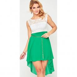 Sukienka szyfonowa z koronką zielona. Brązowe sukienki koronkowe marki Yups, l, młodzieżowe. Za 59,99 zł.