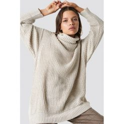Swetry oversize damskie: Trendyol Sweter Polo Knitted - Beige