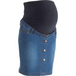 """Spódniczka dżinsowa ciążowa bonprix niebieski """"stone"""". Niebieskie spódnice ciążowe bonprix, w paski, moda ciążowa. Za 49,99 zł."""