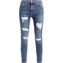 Topshop SUPER RIP JAMIE NEW Jeans Skinny Fit blue denim, blue. Niebieskie jeansy damskie marki Topshop, z bawełny. Za 269,00 zł.