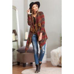Swetry damskie: Blezer z frędzlami brązowy 6130