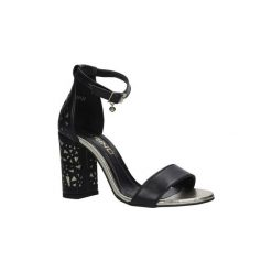 Rzymianki damskie: Sandały Karino  Czarne sandały skórzane z paskiem wokół kostki na ozdobnym obcas