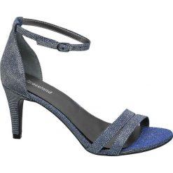 Rzymianki damskie: sandały na obcasie Graceland srebrne